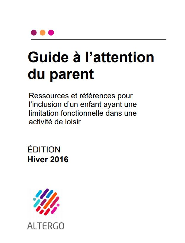 Couverture du guide à l'attention du parent.