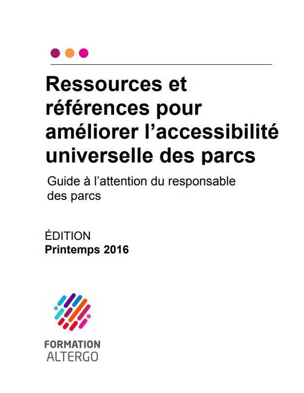 Couverture du guide à l'attention du responsable des parcs.