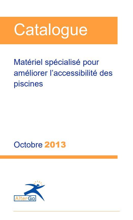 Couverture du catalogue de matériel spécialisé pour améliorer l'accessibilité des piscines.